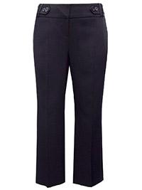 3VANS BLACK Straight Leg Button Detail Trousers - Plus Size 14 to 30