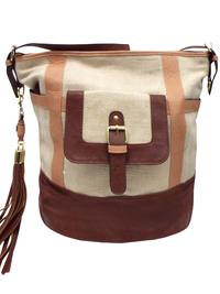ZCV Stone Front Pocket Tassel Tote Bag