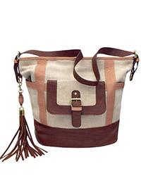 ZCV Stone Front Pocket Tassel Tote Bag (L16 x W9.5 x H14)